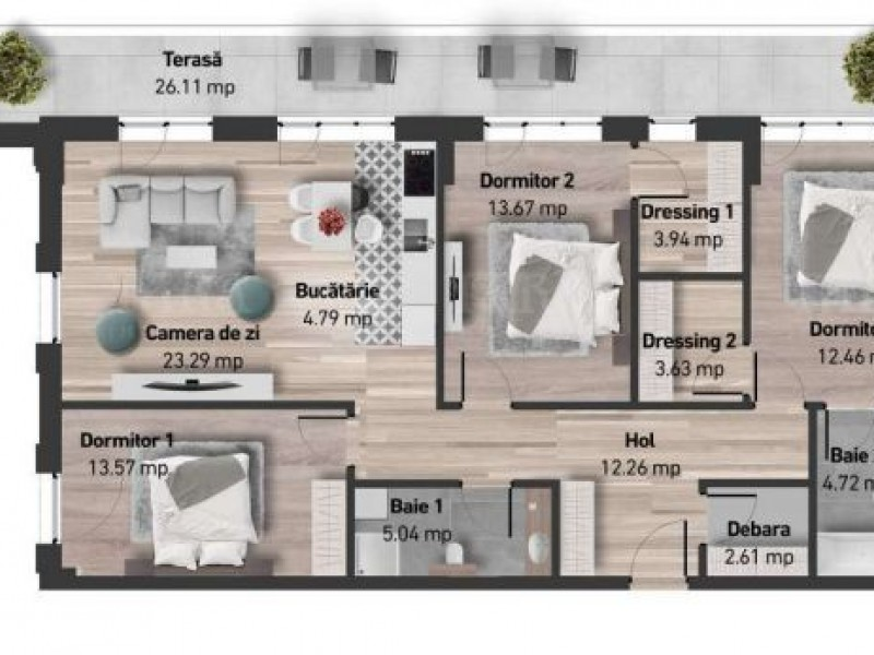 Apartament cu 4 camere, Zorilor