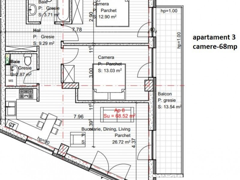 Apartament Cu 3 Camere Dambul Rotund ID V560514 2